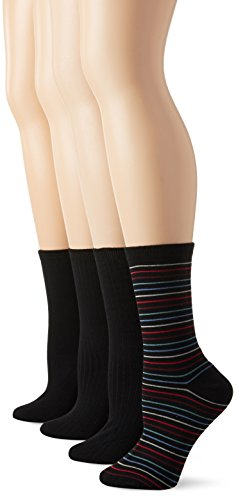 PEDS Women's Solids and Stripes Dress Crew Socks 4 Pairs, Assorted, Shoe Size/5-10 ()