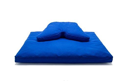 Royal Blue Deluxe Pillow - Royal Blue Buckwheat Hull Fill Regular Lift Cosmic Cushion & Cotton Batting Zabuton Meditation Cushion Yoga Pillow 2 pc Set