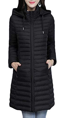 Slim Lightweigth Cotton Vogue Parkas Coats Warm Black amp;E Puffer H Women's Padded Hoodie xwqzUTEf1n