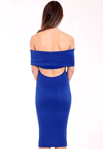 New Party Sexy Christmas Blue Midi UK Dress Ladies Shoulder Bardot Women Bodycon Off Y0qrwYa