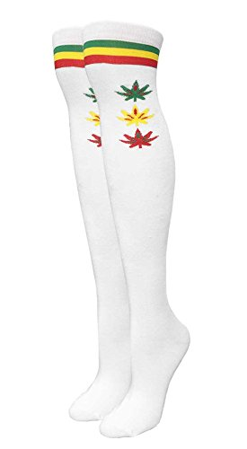 Women's White Rasta Marijuana Weed Leaf Over the Knee Fashion Socks (Rasta Weed Socks)
