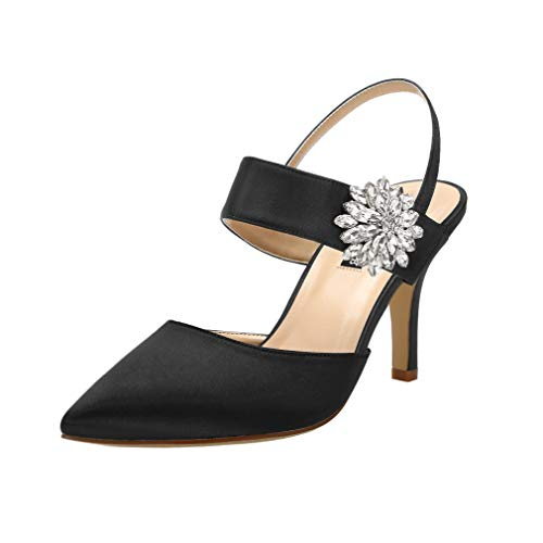 ERIJUNOR E0064 Mid Heel Shoes for Women Pointed Toe Slingback Rhinestone Brooch Satin Dress Pumps Evening Prom Wedding Shoes Black Size - Dress Black Brooch
