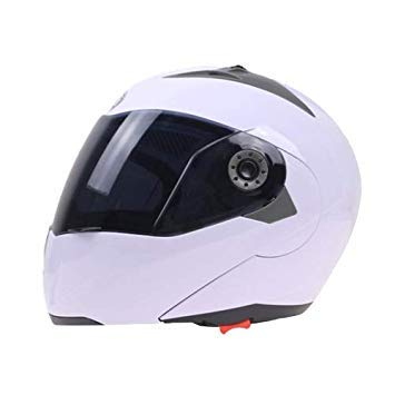 Uniqus JIEKAI 105 Full Face Helmet Electromobile Motorcycle Double Lens Predective Helmet, Size  XXL (White+Brown)