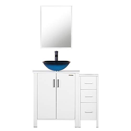 - eclife 36'' Bathroom Vanity Sink Combo White W/Side Cabinet Ocean Blue Square Tempered Glass Vessel Sink & 1.5 GPM Water Save Faucet & Solid Brass Pop Up Drain,With Mirror (A04B04WB11W)