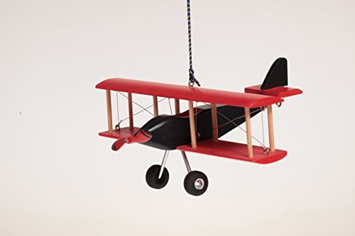 Hanging Nursery Ceiling Room Decor (Hanging Airplane For Children Kid Room Nursery Fly Vintage Decor Red Black Wooden 5'')