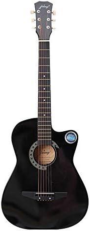 ギター ハイクラスの8インチフルサイズのバッグ木製フォーク18フレットアコースティックギター6色ギター クラシック ギター (Color : Black, Size : 38Inches)