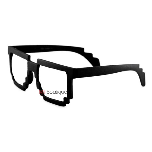 Block Glasses 8-Bit Pixel Video Gamer Geek Costume Party ( Black, - Hipster Gamer