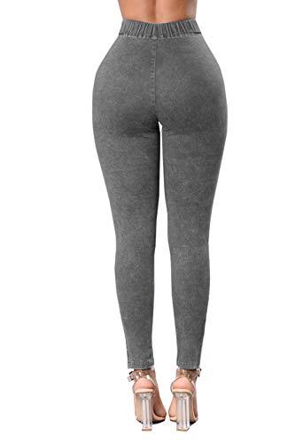 Haute Pantalon Les La Taille Femmes Long Gray Poche Skinny De Jeans Jeans des qnwwxaORC6