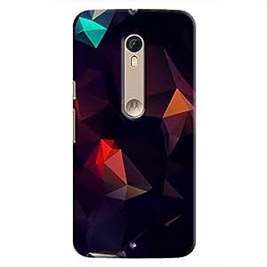 Cover It Up - Black Pixel Cyan Triangles Motorola Moto X Style Hard Case
