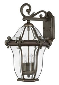 Hinkley 2444CB Traditional Three Light Wall Mount from San Clemente collection in Copperfinish, San Clemente Outdoor Lantern