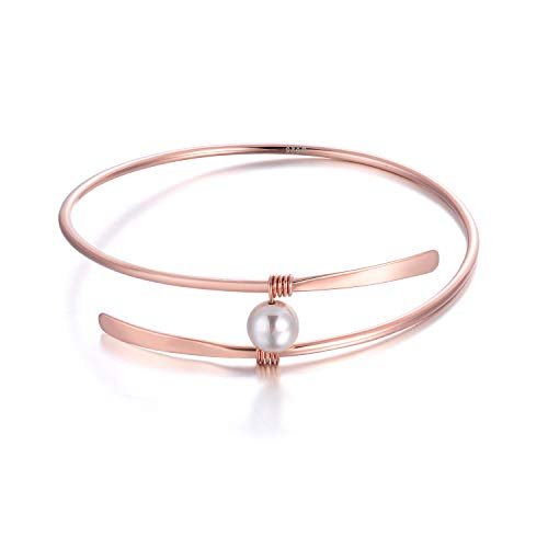 18K Rose Gold Wire Bangle Sterling Silver Single Freshwater Pearl Bracelets Wedding Bridesmaids Anniversary Gifts for Women (18k rose gold ()