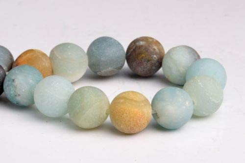 10mm Natural Matte Multicolor Amazonite Grade A Round Gemstone Loose Beads 7.5'' Crafting Key Chain Bracelet Necklace Jewelry Accessories Pendants ()