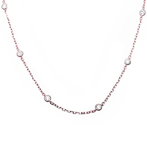 rling Silver Bezel Set Cubic Zirconia by the Yard Pendant Necklace 16