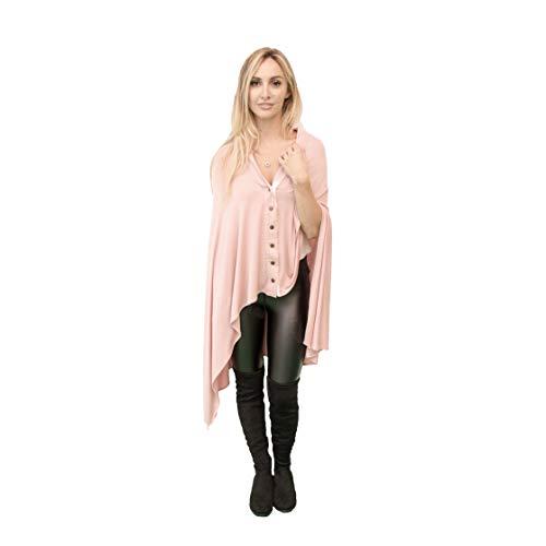 Zalamoon Luxury Infinity Shawl, Infinite Ways to Wear All-Season Versatile Sweater, Wrap, Poncho, Cape, Cardigan, Scarf, Swimsuit & Travel Coverup (Rose)