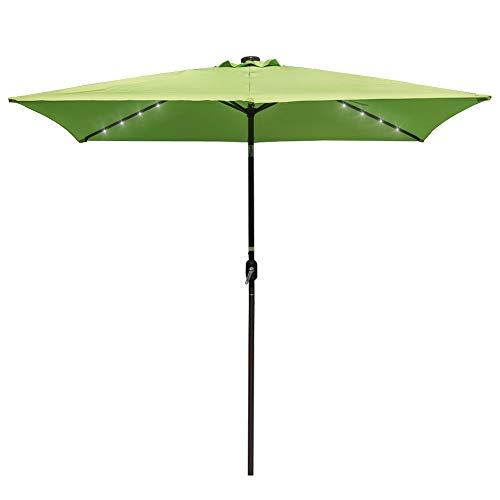 Garden Back Antique Green - Sundale Outdoor Rectangular Solar Powered 26 LED Lighted Patio Umbrella Table Market Umbrella with Crank and Push Button Tilt for Garden, Deck, Backyard, Pool, 6 Alu. Ribs, 9 by 6.5-Feet (Apple Green)