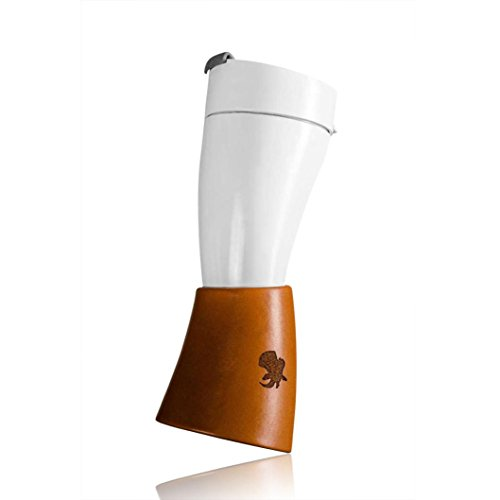 Compia Fashion Style Croissants Cup Goat Horn Coffee Cup Stainless Steel Liner Vacuum Insulation Cup Travel Cup with Long and Short Shoulder Strap (White)
