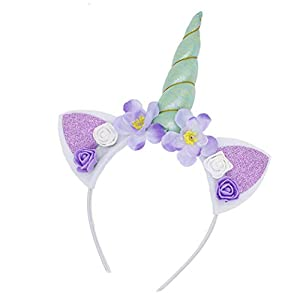 5PC Glitter Unicorn Horn Headband, Flower Ears Unicorn Headbands for Girls, Birthday Party Supplies, Favors and Decorations Pink