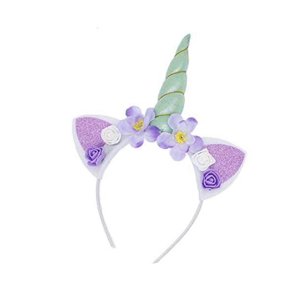 5PC Glitter Unicorn Horn Headband, Flower Ears Unicorn Headbands for Girls, Birthday Party Supplies, Favors and… 4