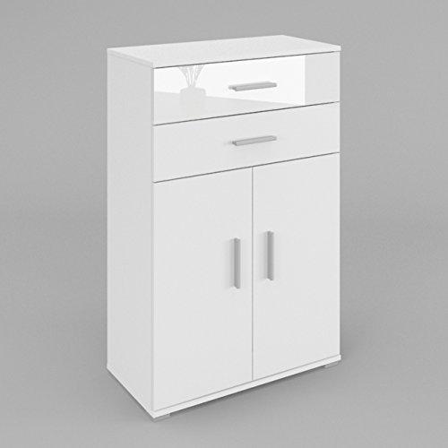 LILI commode - buffet - dressoir 2 portes - 2 tiroirs - le corps: blanc mat - le front: blanc haute brillance