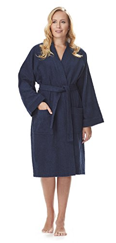 imono Bathrobe Lightweight Turkish Cotton Terry Cloth Robe (M,N.Blue) ()