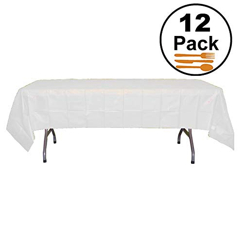 Exquisite 12-Pack Premium Plastic Tablecloth 54 Inch. x 108 Inch. Rectangle Table Cover-White - White Disposable