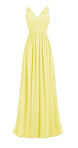 Sleeveless Long Chiffon Neck Line Dresses A Party Yellow Wedding Bridesmaid Womens Lace V TRAqIA8n