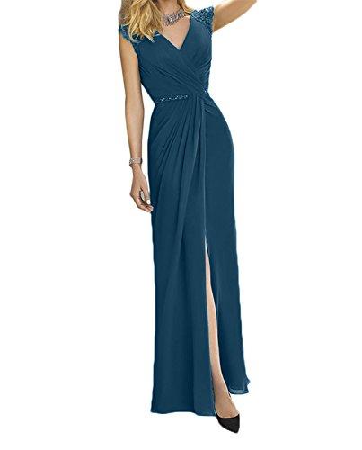 Blau Abendkleider Dunkel Elegant Lang Brautmutterkleider Damen Tuerkis Chiffon Etuikleider Partykleider Charmant aqwBvORX