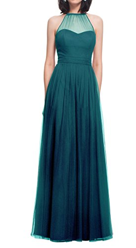 Zhongde High Neck Elegant Beach Boho Country Lace Up Tulle Long Prom Bridesmaid Dress Wedding Party Guest Teal Size 12