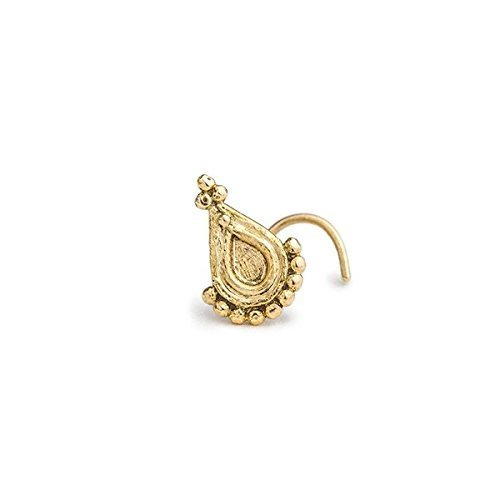 Indian Tragus Jewelry: Yellow 14k Gold Handmade Ear Piercing in 20 Gauge by Studio Meme