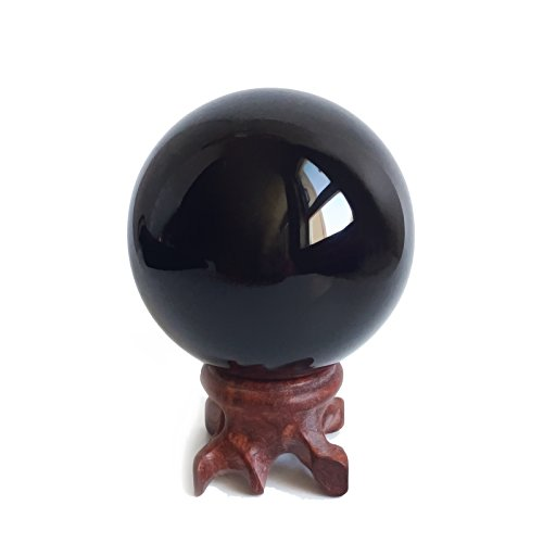 - Mina Heal Obsidian Crystal Ball for Fengshui Ball, Meditation, Crystal Healing, Divination Sphere, Home Decoration, 100% Natural and Genuine