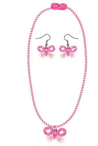 Bisutería infantil de plástico, multicolor–Collar y Pendientes–Mariposa–Rosa/Morado