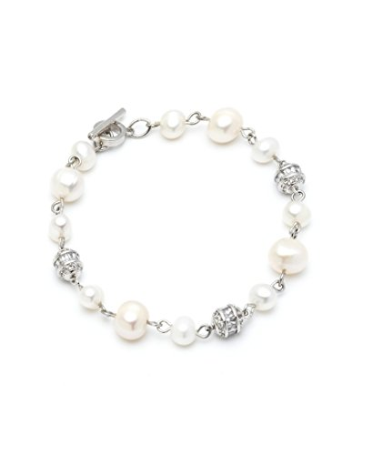 (Carolee Women's Fresh Water Pearl Single Row Bracelet with Baguette and Pave Balls, 7.5