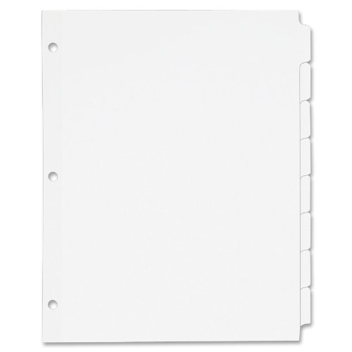 durable service staples write on big tab dividers 5 tab set white