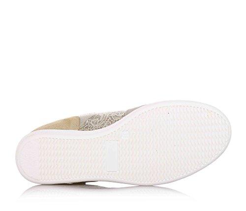 LIU JO - Chaussure beige, en suède et dentelle, avec bande élastique et logo sur la partie frontale, pièce postérieure en cuir doré, coutures visibles, fille, filles, femme, femmes
