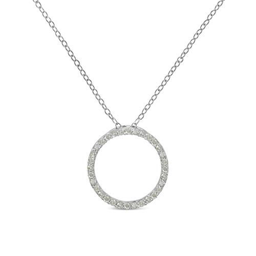 Original Classics Sterling-Silver Diamond Hoop Circle Pendant Necklace (1/3 cttw, I-J Color, I2-I3 Clarity) (Classic Diamond Circle Pendant)