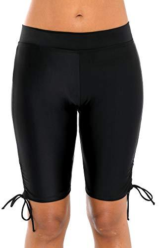 ATTRACO Women's Swim Shorts Drawstring UPF 50+ Swim Capris Board Shorts Swimsuit Bottom 2XL (Capri Drawstring Shorts)
