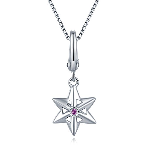 MBLife Platinum Plated 925 Sterling Silver Pink Sapphire Starfish Sea Star Pendant Necklace (0.018 cttw) by MBLife