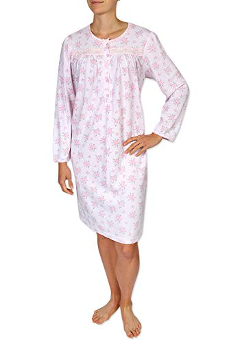 Miss Elaine Women's Short Nightgown - Brushed Honeycomb Knit Material. with Long Sleeves and a Round Neckline - Miss Elaine Short