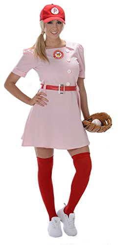 [Karnival Costumes Women's Peaches Ball Player, Pink/Red, Large/X-Large] (Womens Baseball Costumes)