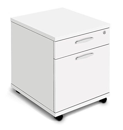 NOVA Aspire Low Mobile Under-Desk 2-Drawer Pedestal, WHITE