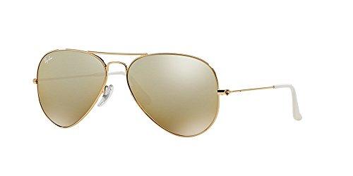 Ray-Ban 3025 Aviator Large Metal Mirrored Non-Polarized Sunglasses, Gold/Brown/Silver Mirror (001/3K), - Ban Ray Mirrored Aviator