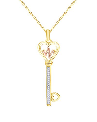 0.05 CT Diamond Heartbeat Heart-Top Key Pendant in 14K Gold Over Sterling Silver (Diamond 0.05 Ct Key)