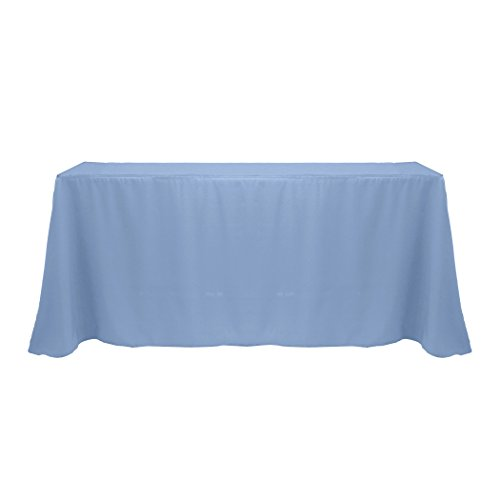- Ultimate Textile -5 Pack- 90 x 132-Inch Rectangular Polyester Linen Tablecloth with Rounded Corners, Slate Blue