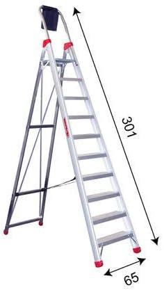 Escalera de tijera Domus 10 Faraone, escalera profesional de aluminio 10 peldaños con brazo: Amazon.es: Bricolaje y herramientas