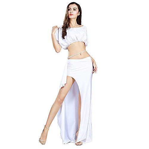 ROYAL SMEELA Belly Dance Costume for Women Belly Dancing Skirt Bat Sleeve Top Backless Belly Dancing Outfit Carnival Costumes White -