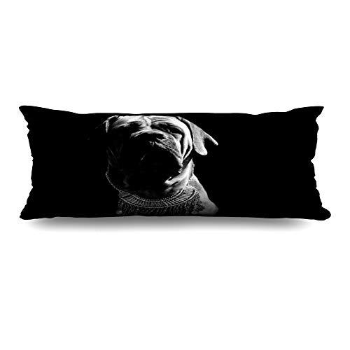Ahawoso Body Pillows Cover 20x54 Inches White Silver Bulldog South African Boerboel Sales Necklace Black Luxury Punk Modern Decorative Cushion Case Home Decor Pillowcase