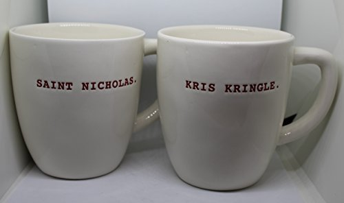 Kris Kringle Christmas - RARE Rae Dunn by Magenta Saint Nicholas and Kris Kringle in Christmas Red Typeset letters 2 Mug Set Coffee Tea Soup.