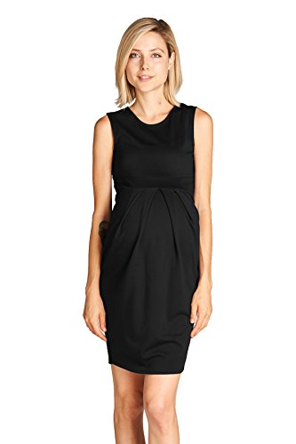 LaClef Women's Knee Length Midi Maternity Dress with Front Pleat (Small, Black)