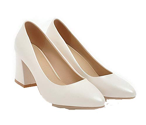Aalardom De Puntera Zapatos Tacón Tacón Medio Sintético Mujeres Cerrada Blanco tsmdh003321 TTOnq0rZ