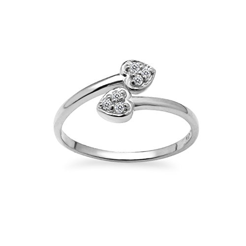 (Sterling Silver CZ Cubic Zirconia Double Heart Adjustable Toe Ring)